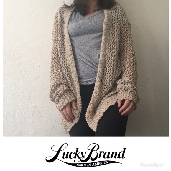 96adf7d9583b0 Lucky Brand Sweaters - Lucky Brand Crochet Oversized Cardigan
